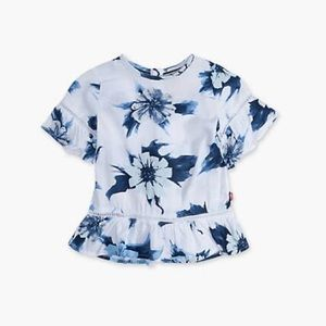 Levi Ruffle Play Girls Floral Blue Blouse Top NWT
